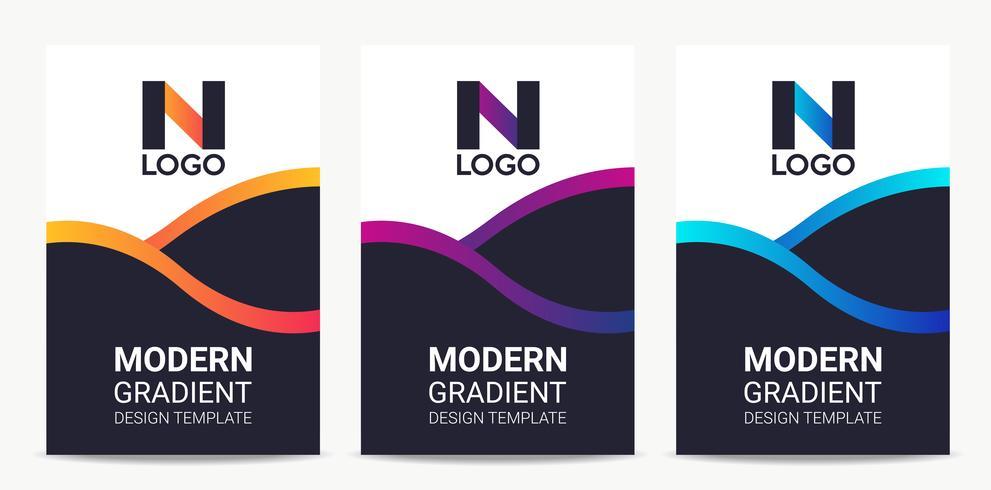 Conjunto de modelo de design de fundo gradiente moderno fluido