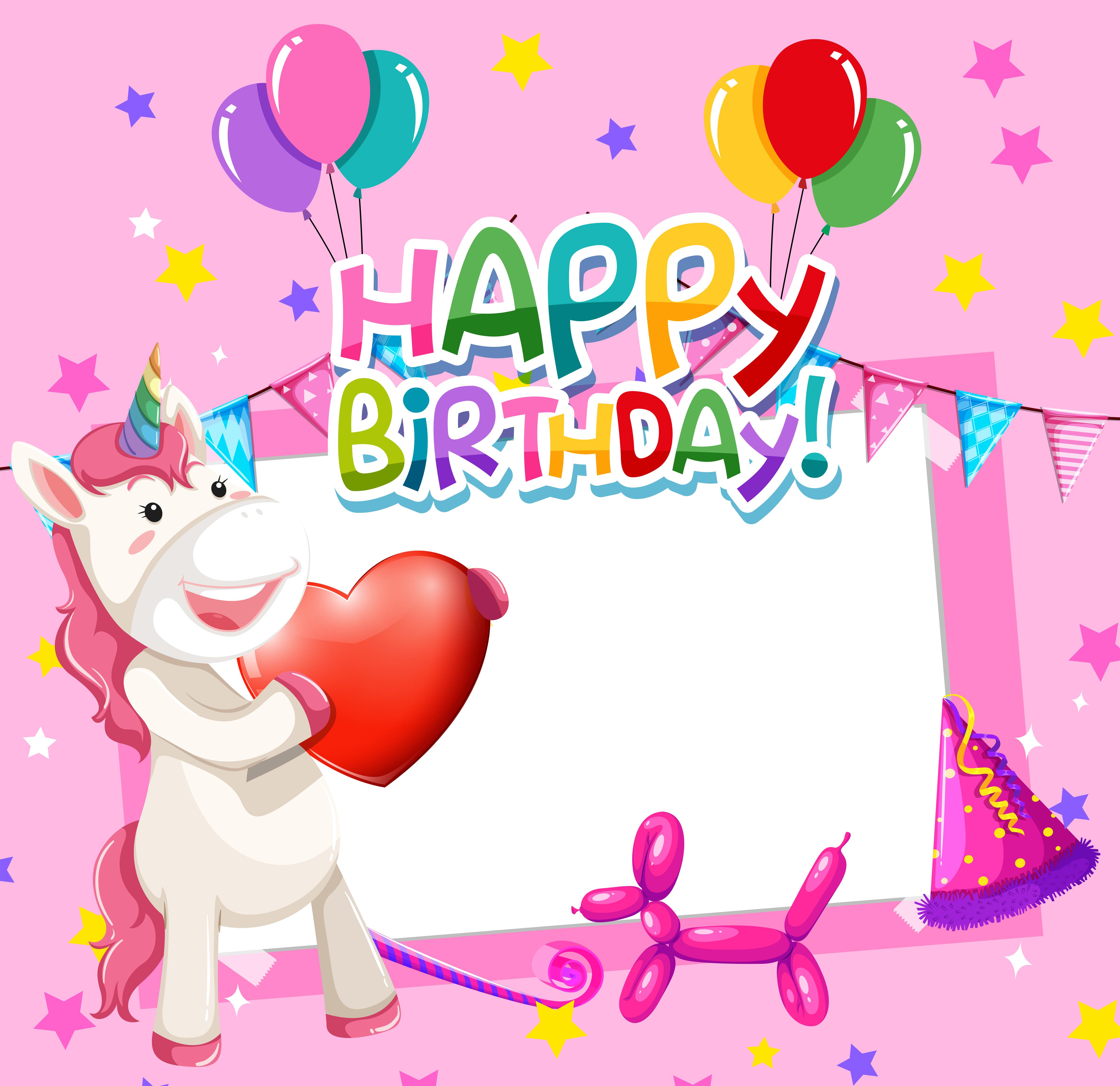 unicorn on birthday frame 541069 vector art at vecteezy