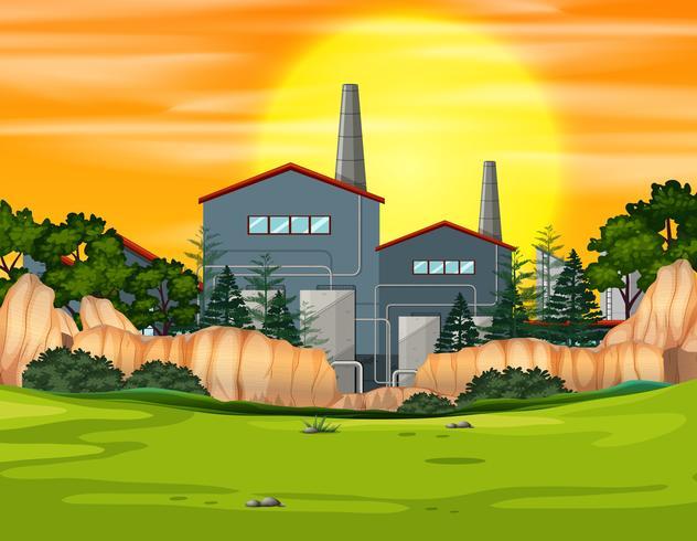 Fabrieksgebouw in aardlandschap