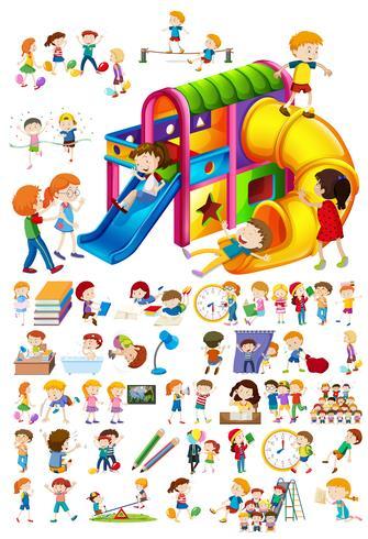 Conjunto de niños y diferentes actividades.