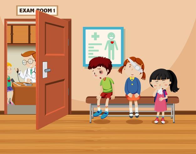 Children wait in front of exam room
