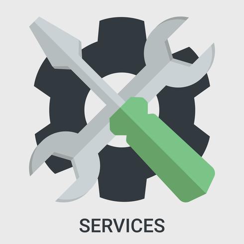 Service dans un design plat