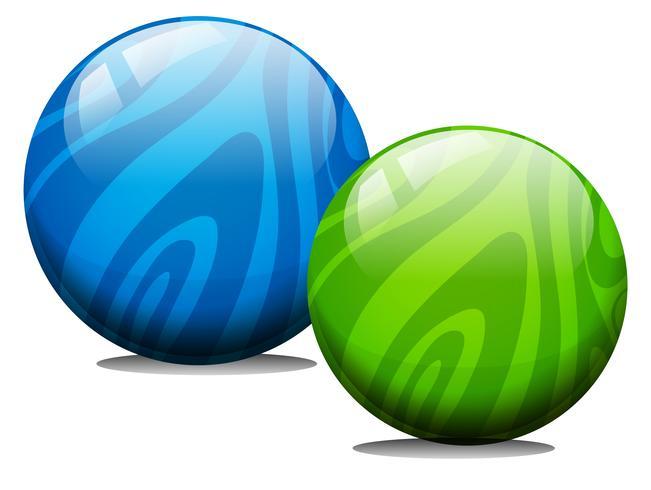 Twee ballen met marmeren textuur