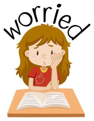 Engelse vocabulaire van bezorgd meisje