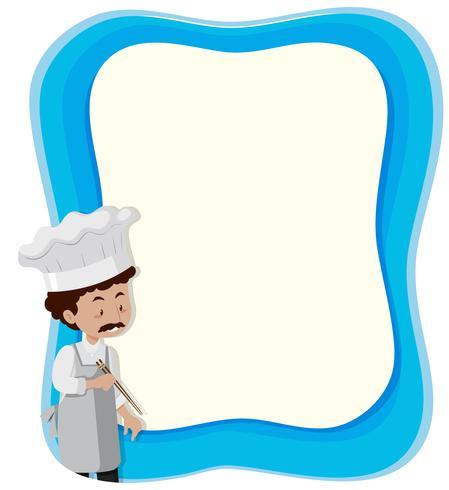 chef-kok anf blauwe achtergrond