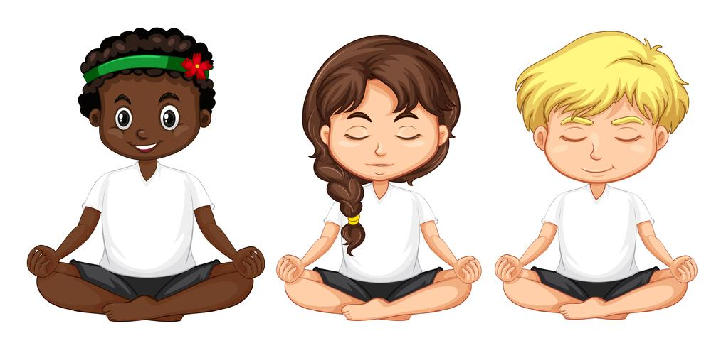 Conjunto de personas multiculturales meditan.