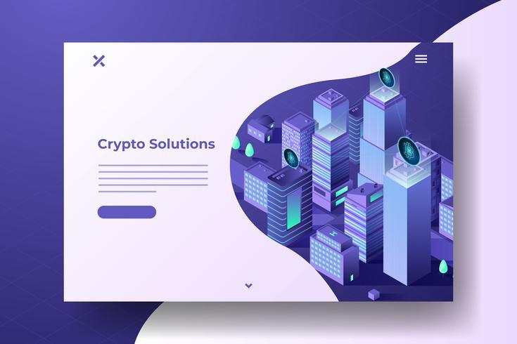 Isometrische Blockchain Illustration