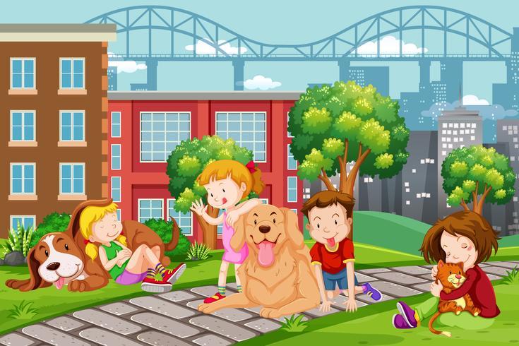 Bambini con animali al parco
