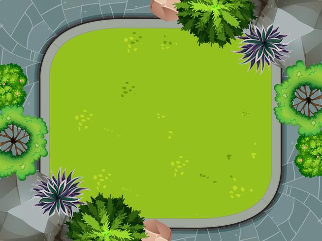 Flygfoto över trädgården