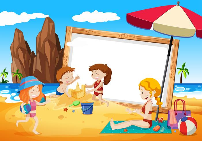 familias en el marco de la playa