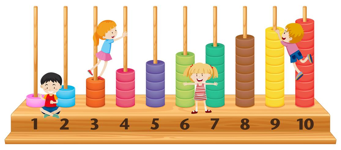 Children on colourful abacus