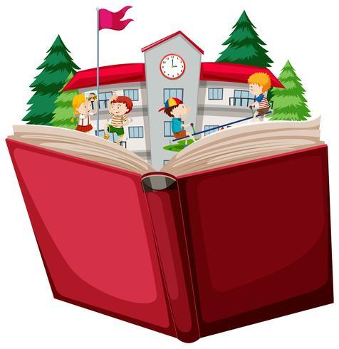 Libro abierto de niños en la escuela.