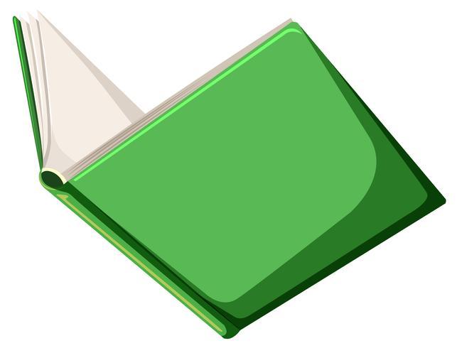 Um livro verde sobre fundo branco