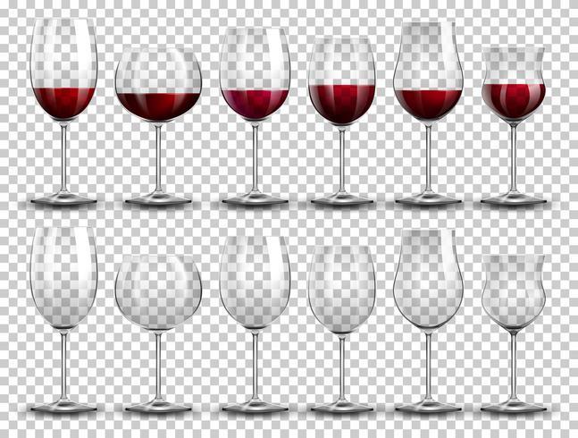 Conjunto de vinho em copos diferentes