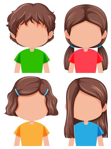 Set of brunette girl different hairstyle