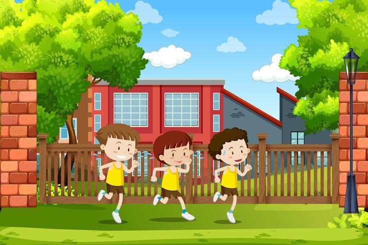 Group of boys running