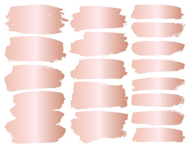 Set of brush stroke, Pink gold grunge brush strokes. Vector illustration.