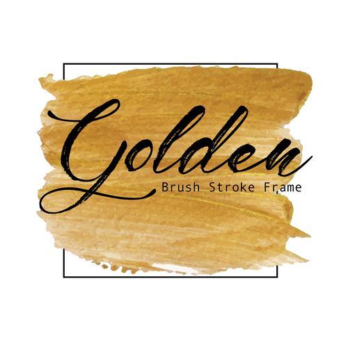 Het gouden kader van de borstelslag, de Gouden vlek van de textuurverf, Vectorillustratie.