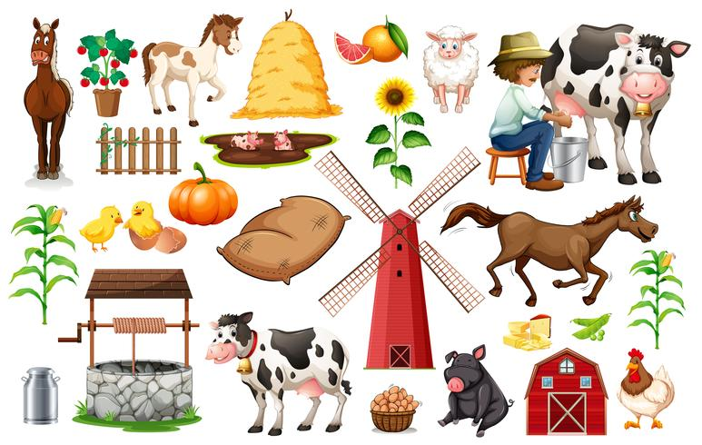 Conjunto de objetos da fazenda
