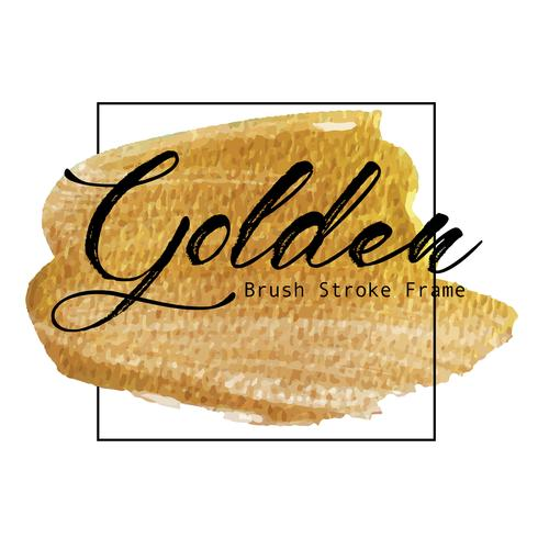 Golden brush stroke frame, Gold texture paint stain, Vector illustration.