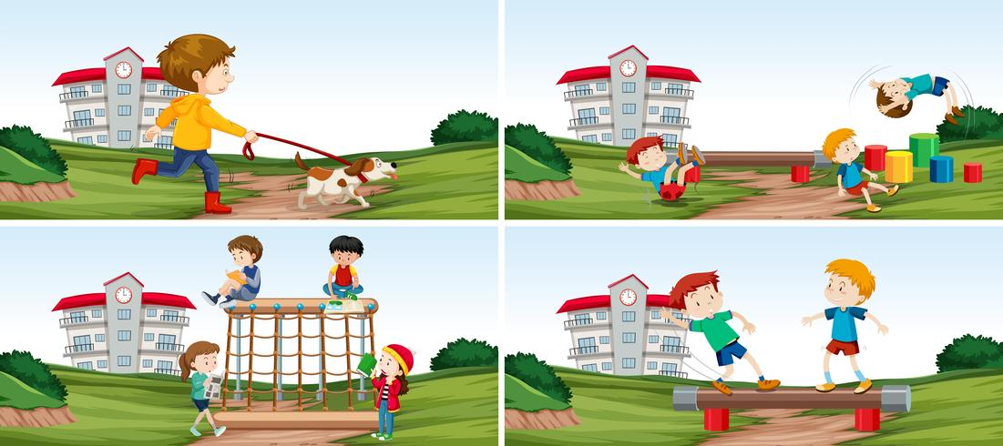 Set van student op speelplaats