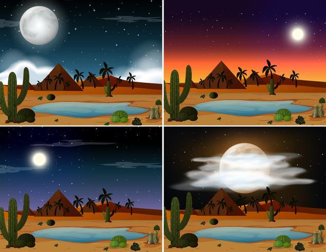 Set of desert scenes vector