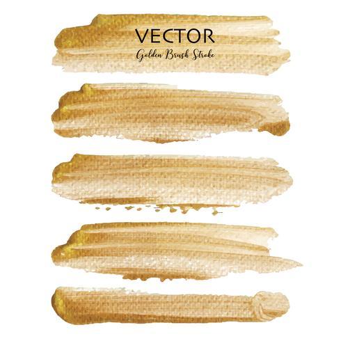 Goldener Vektorbürstenanschlag, Goldbeschaffenheits-Farbenfleck, Vektorillustration.