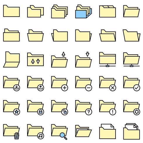 File and Folder icon set, filled editable outline