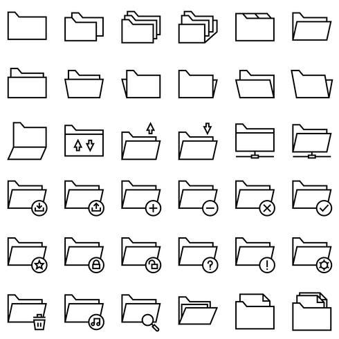 Bestand en map vector icon set, lijnstijl