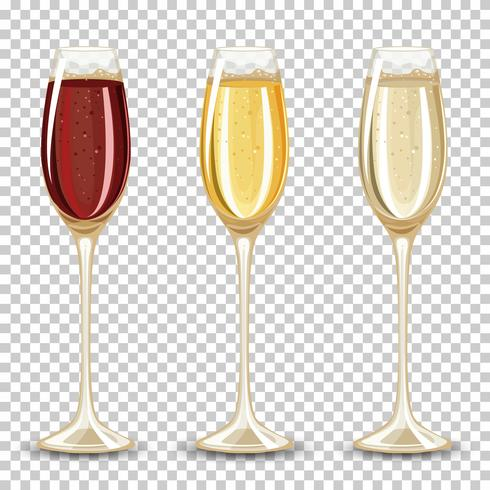 Set of different drink in the glass