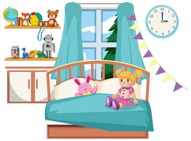 Interno della camera da letto bambino carino