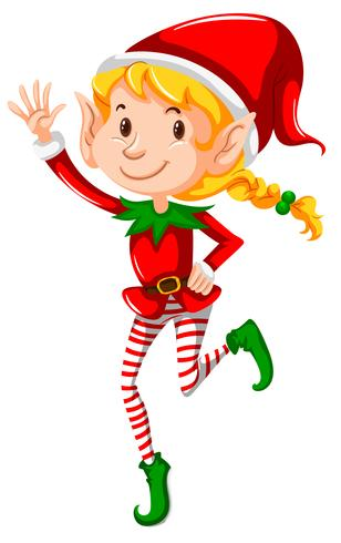 A christmas girl elf on white background