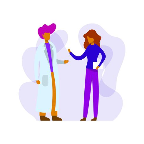 Platte arts en patiënt overleg gezondheidszorg karakter
