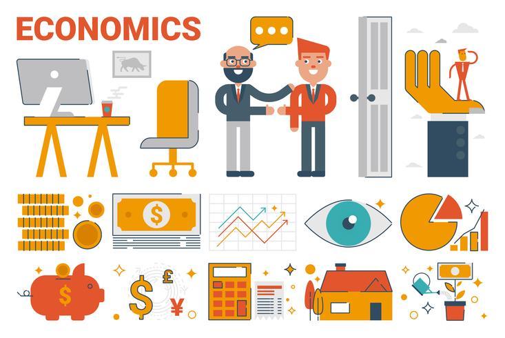 Economics infographic elements and icons