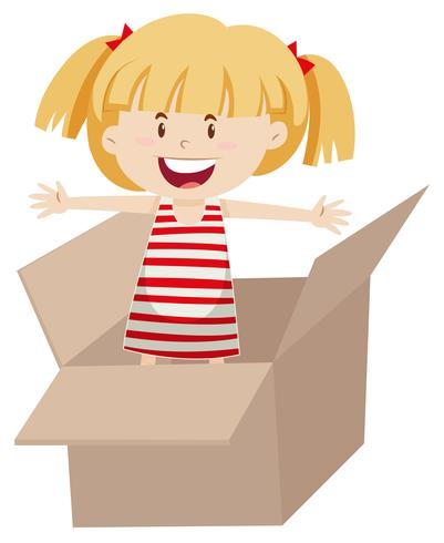 Flat design of girl in box