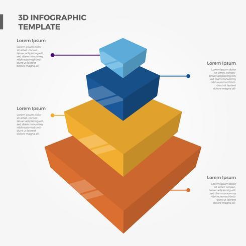 Modèle de vecteur plat 3D éléments infographiques pyramide Bar