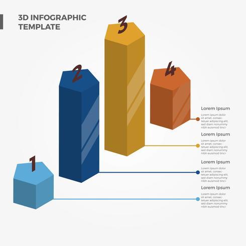 Platte 3D Infographic Element vectorillustratie