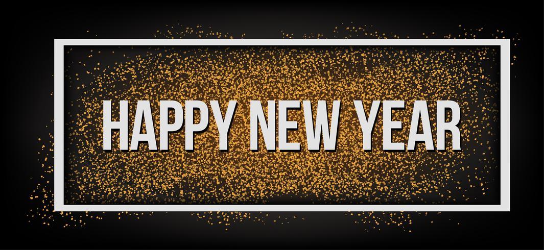 Felice anno nuovo. Glitter oro.
