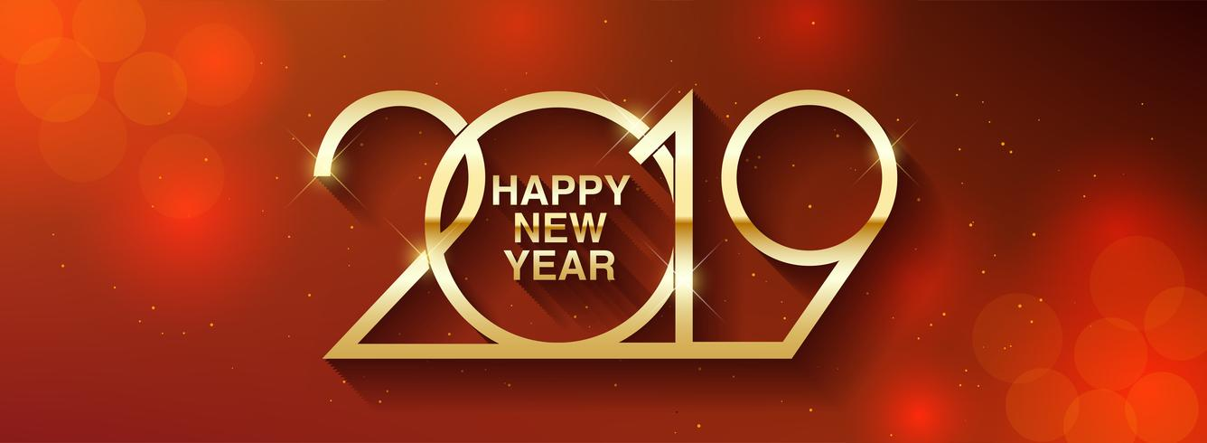 Happy New Year 2019 text design.