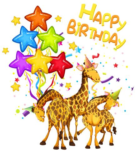 Giraffe on birthday template