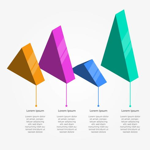Flat Triangle 3D Infographic Vector Template