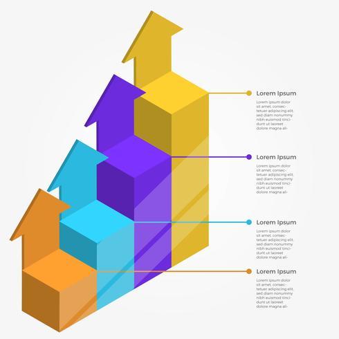 Barra de infografía plana 3D con flecha Vector plantilla