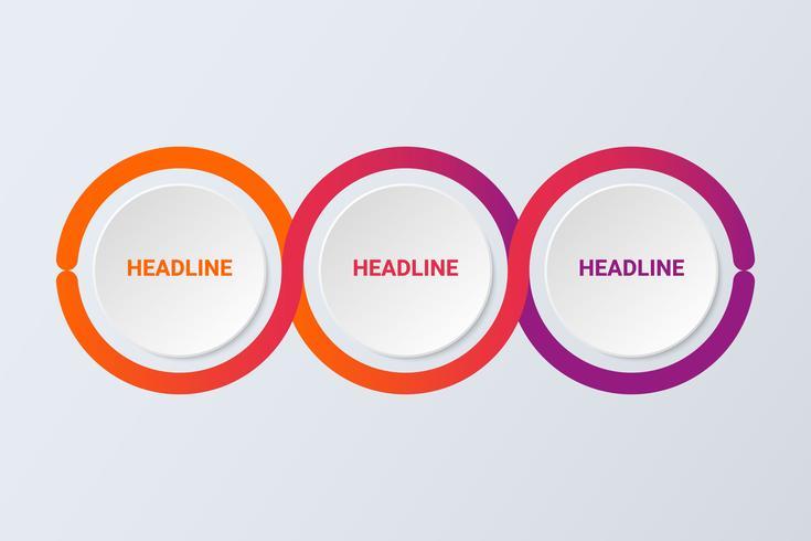 Modèle d'infographie 3D abstrait moderne avec trois étapes pour réussir. Modèle de cercle d'affaires.