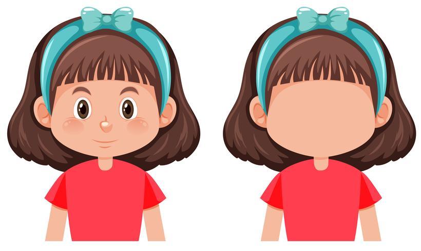 Set of brunette girl character