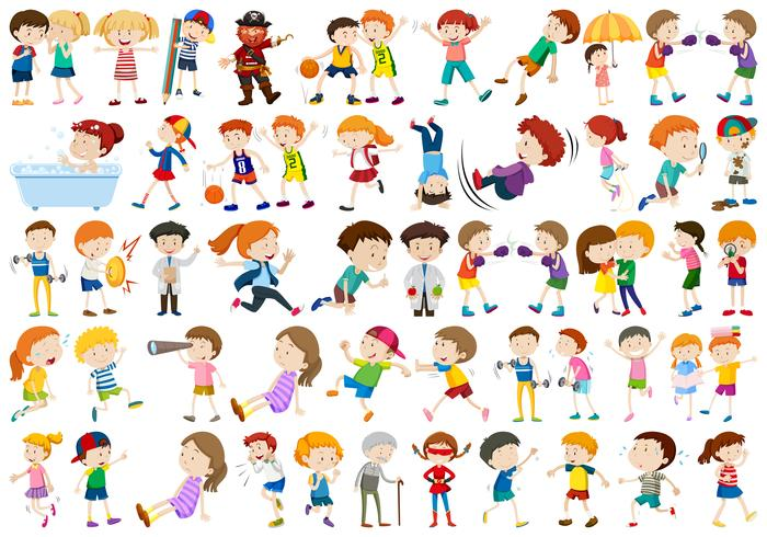Set of exercise people character
