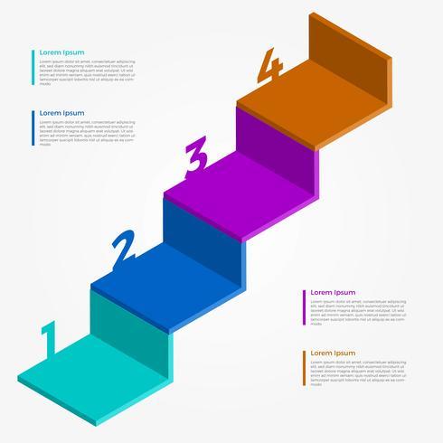 Infografía plana 3D paso Vector plantilla