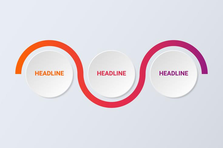 Modern abstract 3D infographic template with three steps for success. Business circle template.