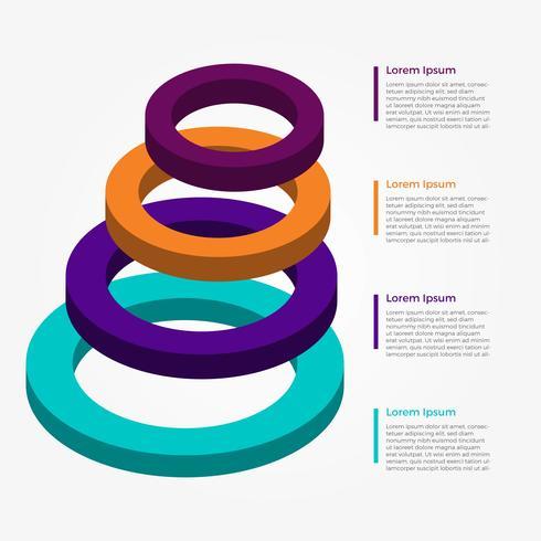 Modèle de vecteur plat 3D infographie élément cercle