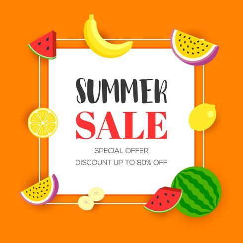 Zomer verkoop met tropisch fruit, vectorillustratie