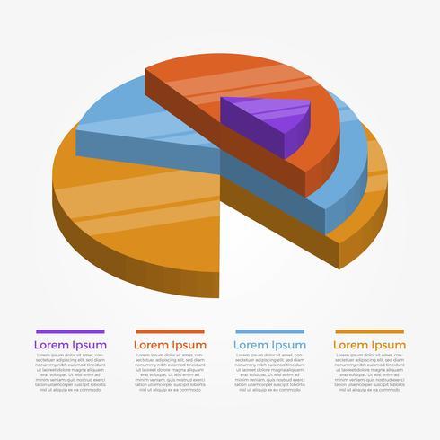 Platte cirkel 3D-infographic elementen Vector sjabloon